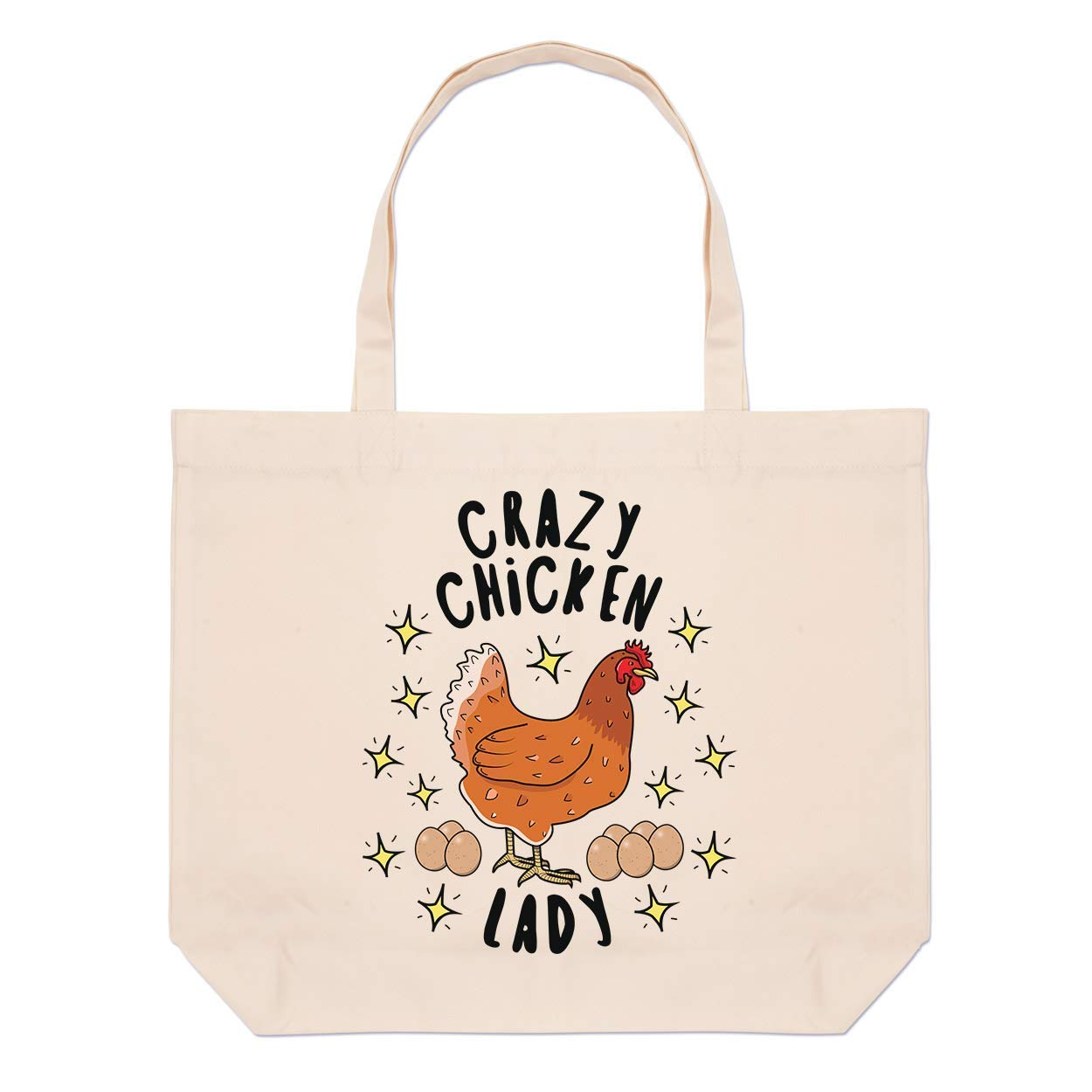 Crazy Chicken Lady Stars Large Beach Tote Bag