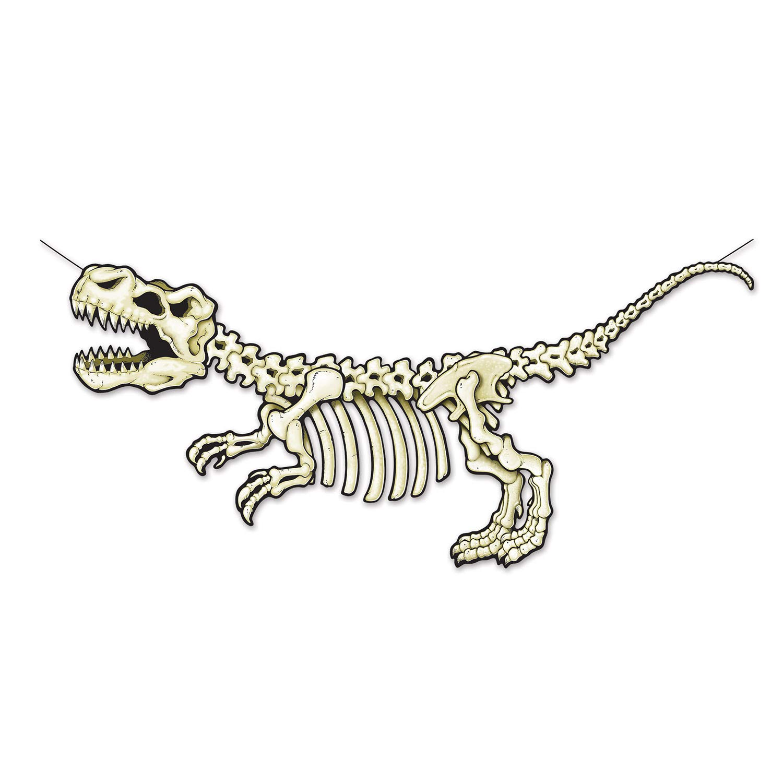 Beistle Dinosaur Party Supplies, T-Rex Skeleton Party Streamer 28.5 Inch x 5 Feet, Pack 12