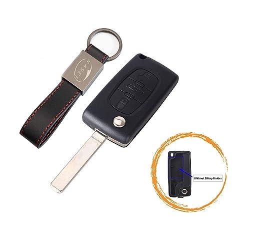 Carcasa Funda Llave Remoto Mando 3 Botones para Peugeot 107 207 307 407 308 409 407 607 (no Battery Place) con Llavero de Cuero KASER