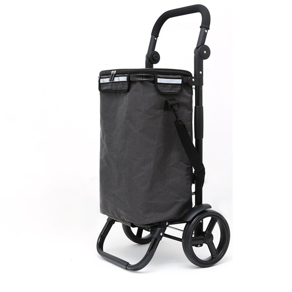 G.CHEN Climbing the stairs Trolley Trolley Folding Portable Stainless steel Pull cart Trolley Trolley Shopping cart Shopping cart (Color : Black)