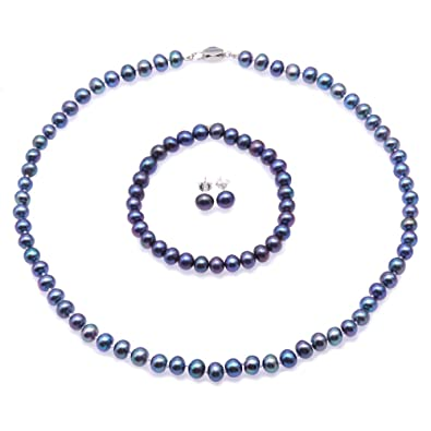 JYX Pearl Necklace Set 9-10mm Blue Freshwater Cultured Pearl Necklace Bracelet and Earrings Jewelry Set 2n4AN0Yp