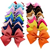 Isopeen 20Pcs Hair Barrettes Ribbon Hair Bow Clips Hair Accessories for Girls Toddlers Kids Hair Accessories