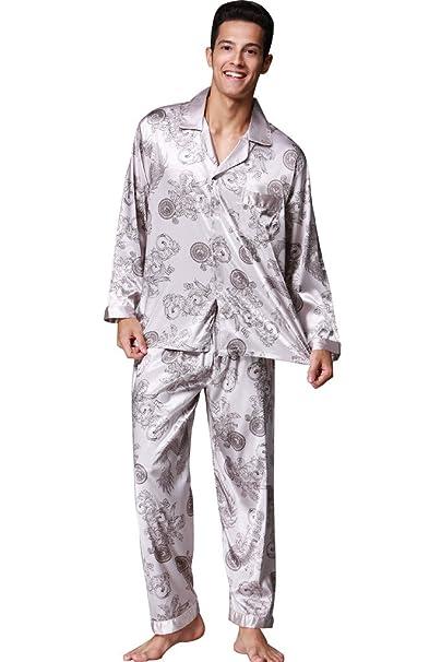 VERNASSA Kimono Para Hombre Del Pijama De Satén Conjunto, Conjunto de pijama de manga larga