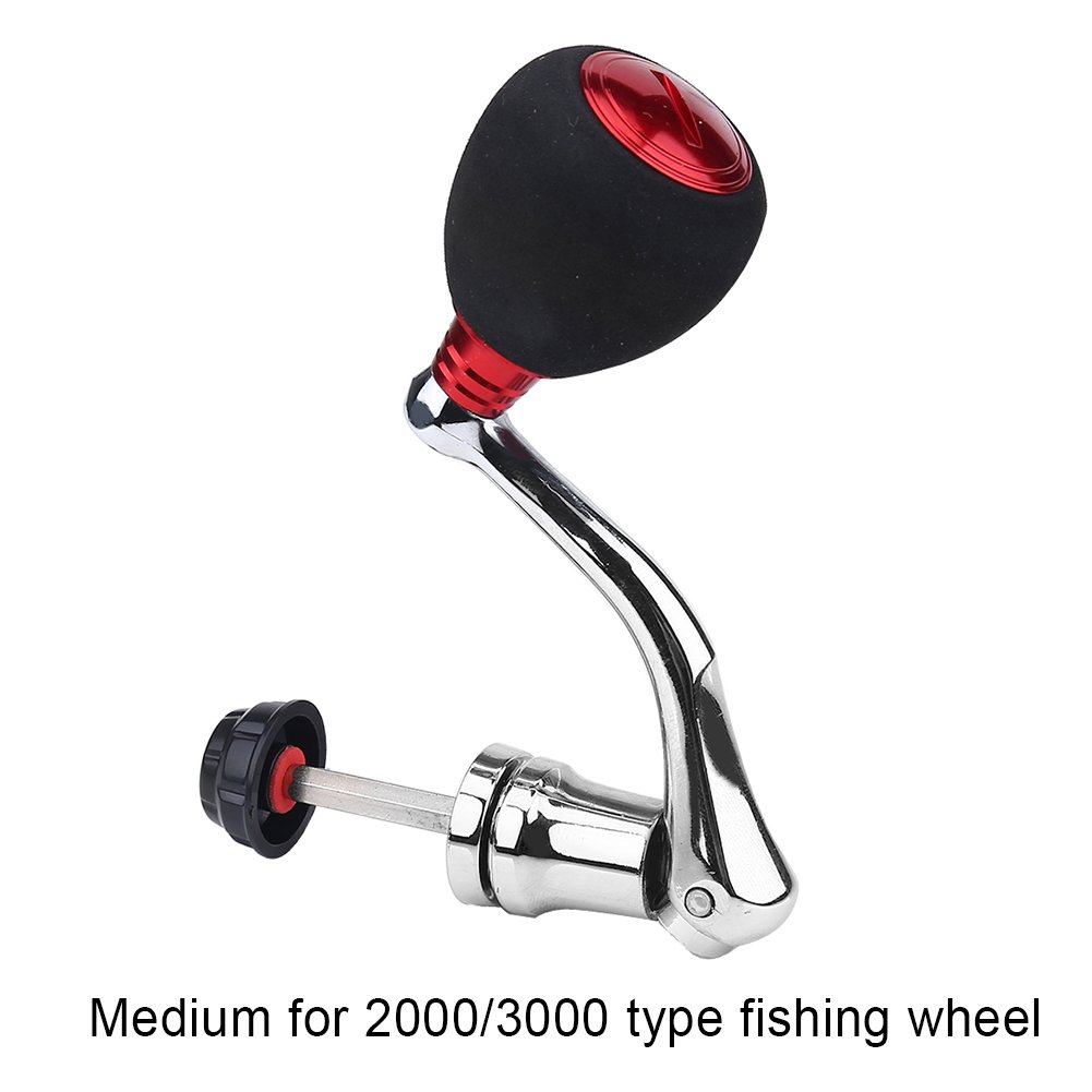 Tbest Fishing Spinning Reel Handle Metal Rocker Arm Reel Replacement Power Handle Grip (L-Red) by Tbest