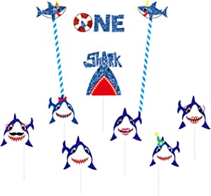 Shark Cupcake Toppers One Cake Topper Kits for Baby Shower Shark Theme 1st Birthday Party Supplies Paper Cake Decorations