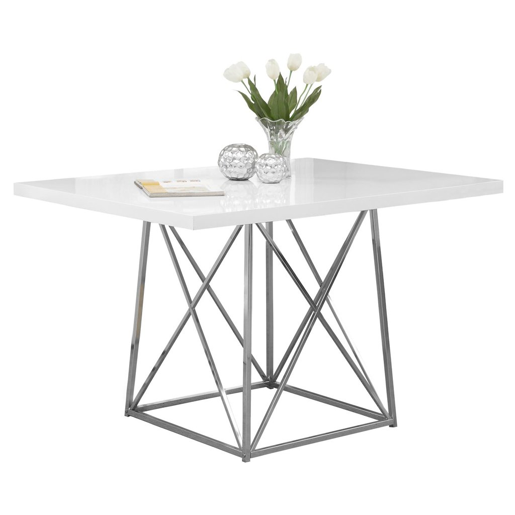 Monarch Specialties Glossy/Chrome Metal Dining Table, 36 by 48-Inch, White I 1046
