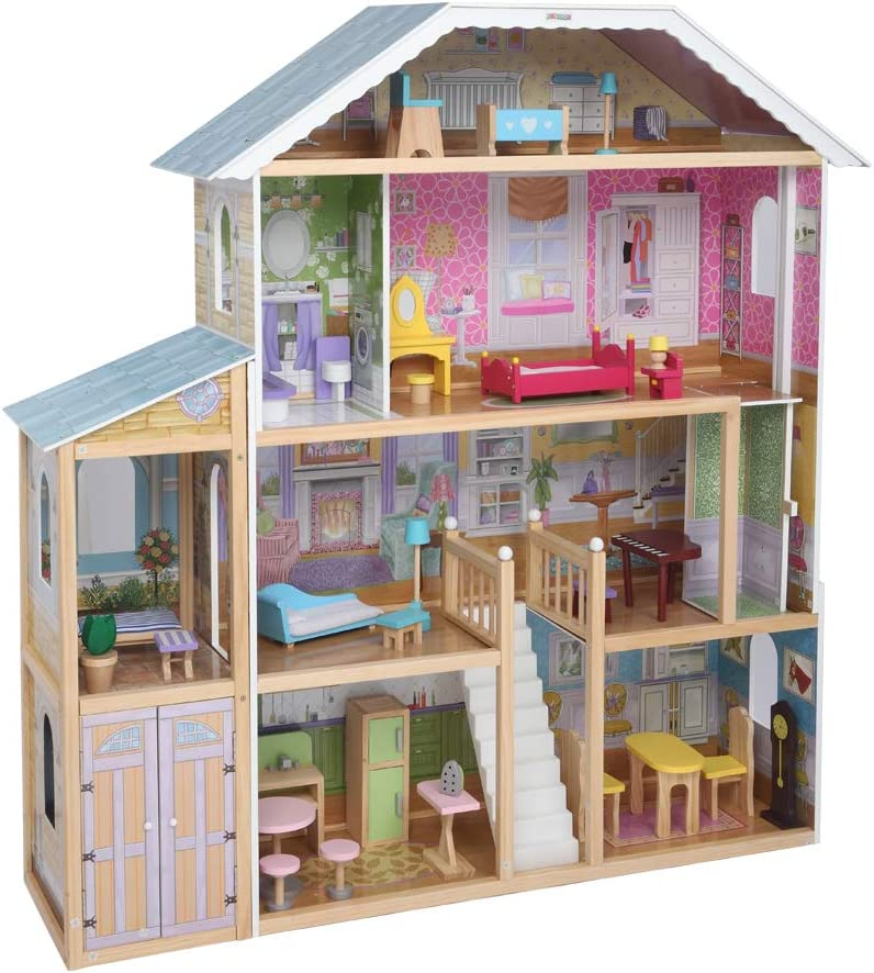 "JOYMOR 48"" Large Dollhouse with Furniture, Wooden Play Mansion with Elevator, DIY Dollhouse Kit Dream Doll House for Little Girls Kids"