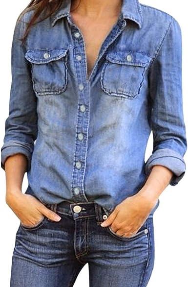 Camisa De Jeans Casual para Camisa Mujer De Moda Mode De Marca para Mujer Camisa De