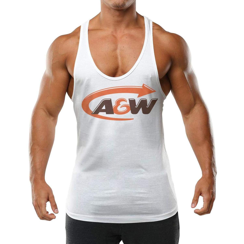 OUYOUOU A/&W Logo Men Adult Bodybuilding Fitness Sleeveless Tank Tops Comfortable Shirts Cotton