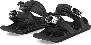 QQLK Mini Ski Shoes - Short Skiboard Snowblades - Adjustable Snowshoes, Sport Outdoor Snow Board Ski Boots - Black