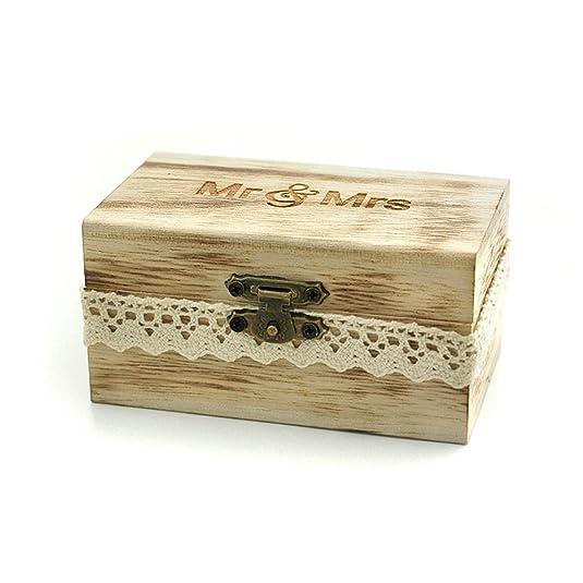Mr And Mrs Ring Box , Rustic Wedding Ring Bearer Box, Wood Wedding Ring Box,  Wedding Box For Rings: Amazon.ca: Jewelry