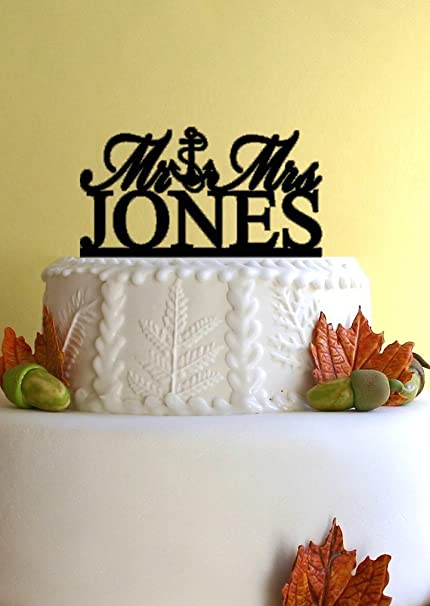 Amazon Com Mr And Mrs Topper Anchor Wedding Cake Topper