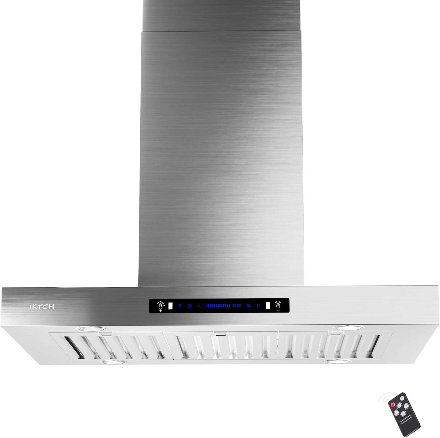 IKTCH 36 inches Island Mount Range Hood, 900 CFM Stainless Steel Kitchen Chimney Vent with Gesture Sensing & Touch Control Switch Panel, 4 Pcs Adjustable Lights, 3 Pcs Baffle Filter IKIS02-36