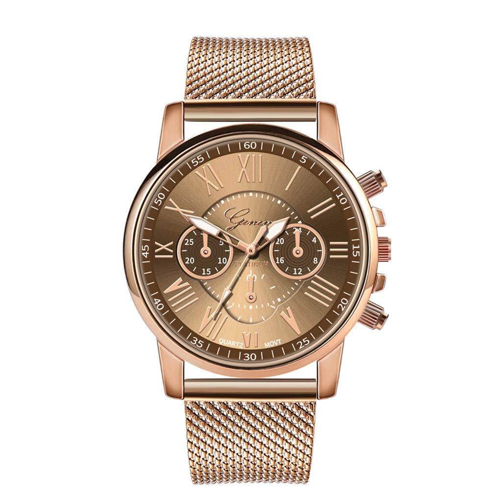 Pocciol Fashion Military Stainless Steel Quartz Watch Womens Casual Watch Luxury Analog Wristwatch (Coffee)