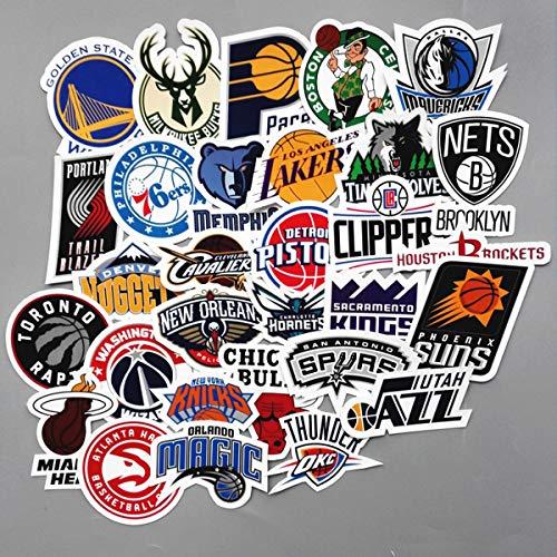 Laptop Sticker NBA Logo Stickers Waterproof Vinyl Scrapbook Stickers Car Motorcycle Bicycle Luggage Decal (NBA-Logo)
