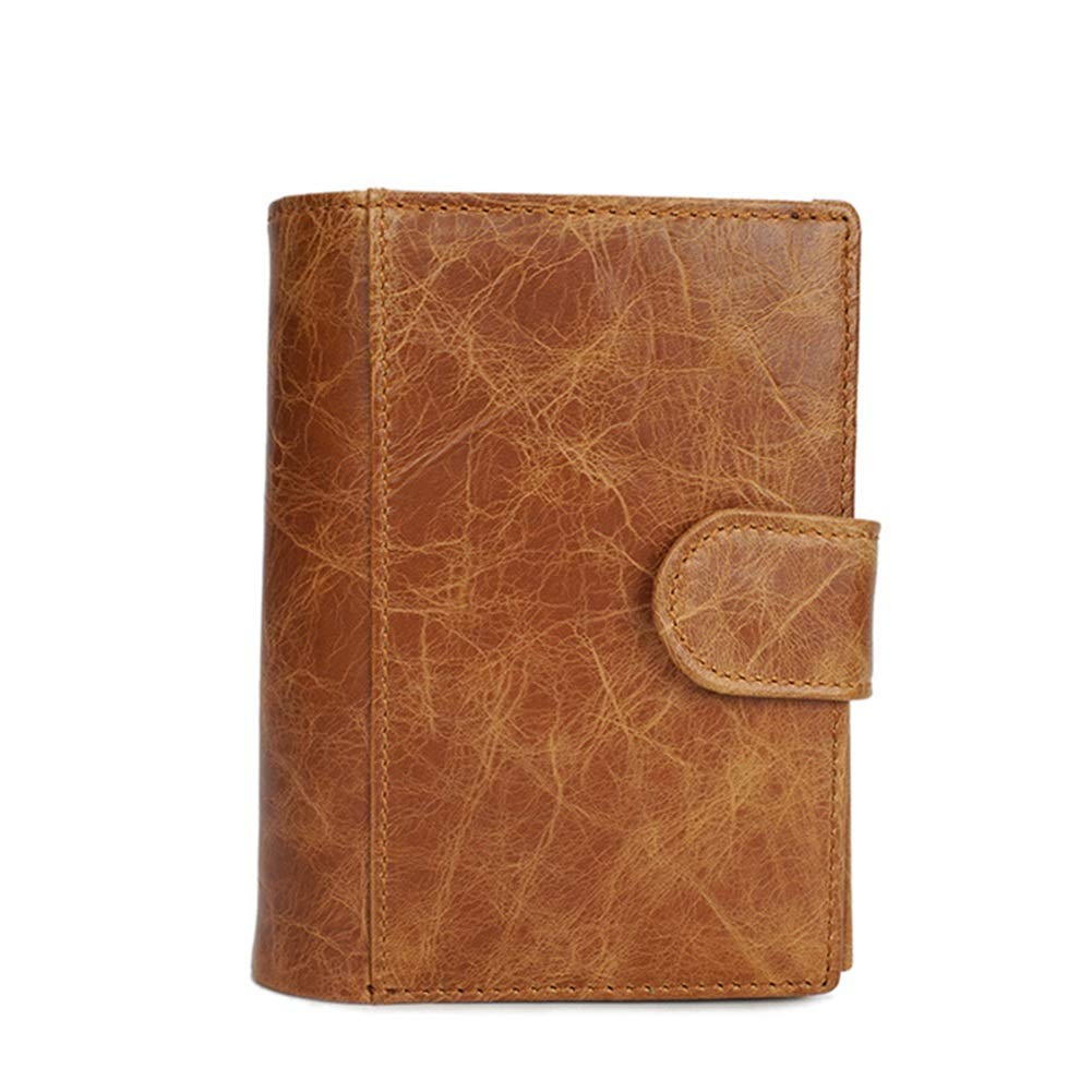 HWX Leather Mens Wallet Short Passport Card Bag Casual Retro Handmade Purse Coin Pocket Color : Light Yellow, Size : 10CM14CM2CM Slim Pocket