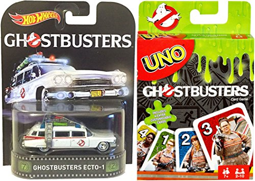 Ghostbusters - Ecto-1 Ambulance Hot Wheels + Ghostbusters UNO Edition Card Game 2-pack
