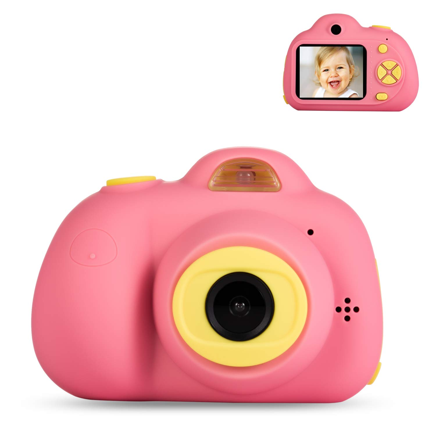 Deeteck Kids Digital Camera,Dual 8MP HD Video Toy Cameras,Gifts for 4-8 Year Old Girls & Boys,Mini Camcorders for Child Support Selfie with 16GB Memory Card(Pink)