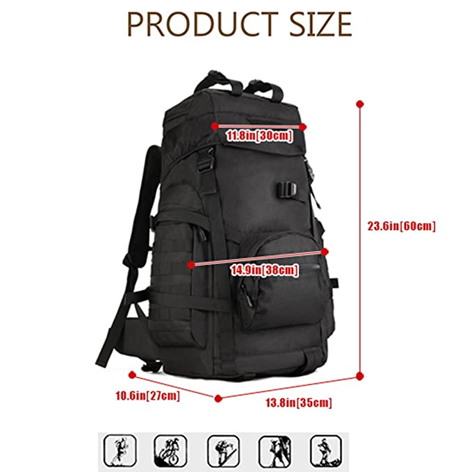 f2b1e5e1558a Freedom-vp 60L Military Tactical Large Daypack Hunting Backpack Gear  Rucksack Waterproof Bag Sport Outdoor For Camping Trekking Hiking (Black)   ...