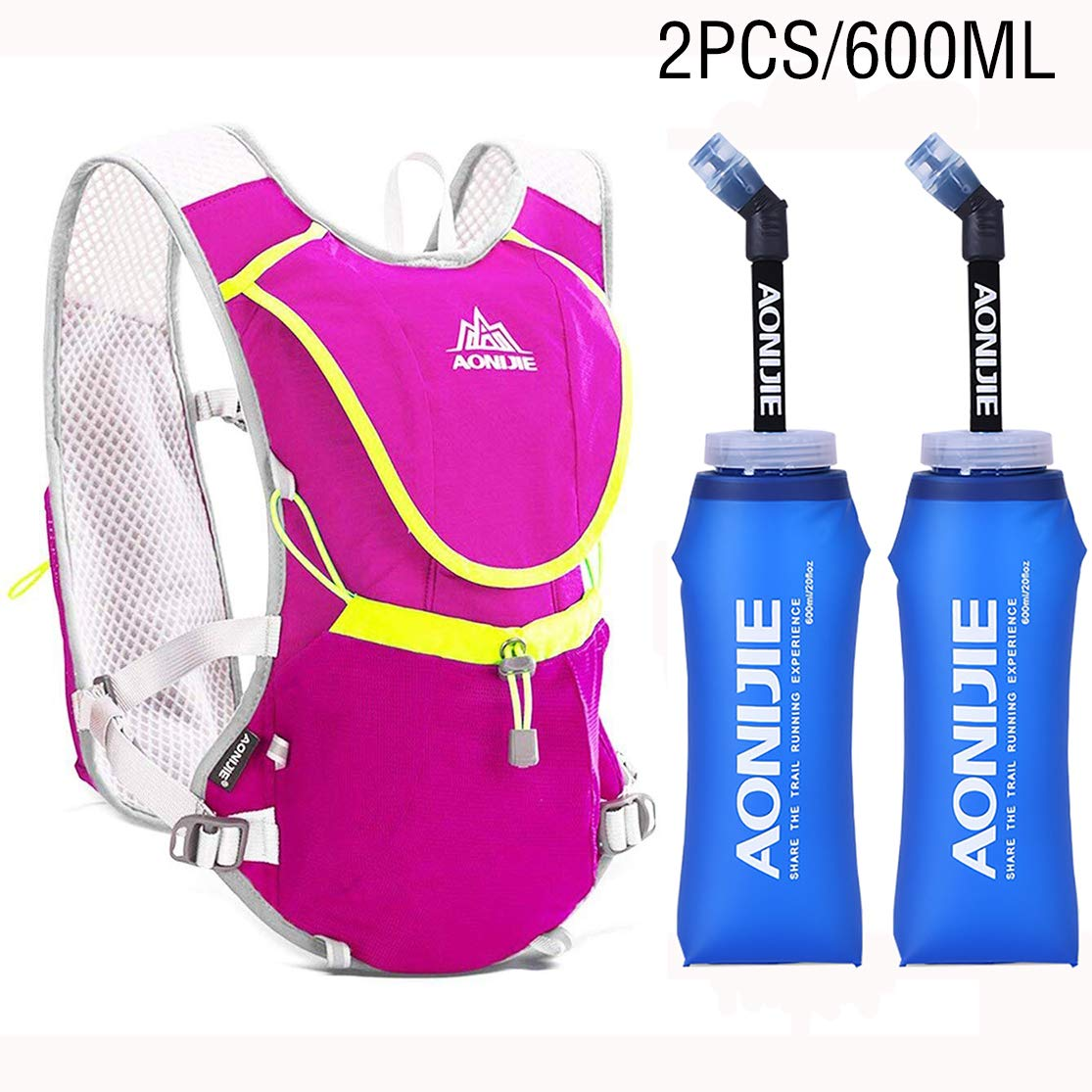 Amazon.com : 8L Hydration Pack Backpack Outdoors Marathoner Running Race Cycling Hydration Vest Blue+BPA Free TPU 350ML Soft Folding Water Bottles ...