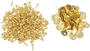 100 Pieces Mini Metal L Shaped Picture Frame Braces Brackets with Screw DIY Supports 12 x 12 mm