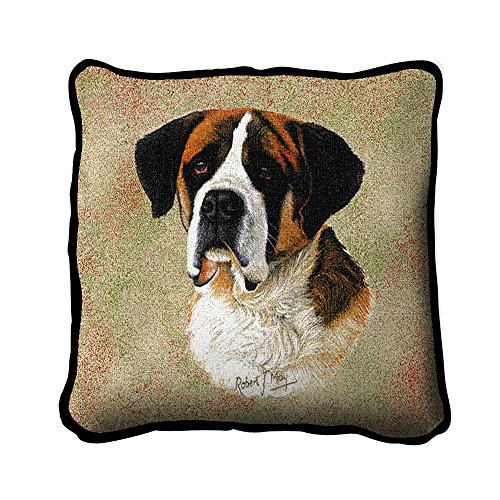 Pure Country Weavers – Saint Bernard Hand Finished Woven Pillow Made in The USA. Size 17 x 17