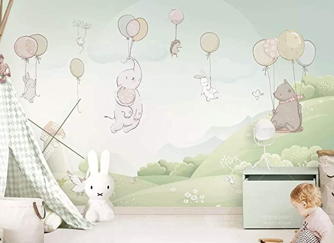 Murwall Cute Animals Flying With Air Balloon And Windmill Texture Wallpaper For Kids Landscape Wall Murals