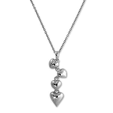 SilberDream Halskette 925 Silber 47cm Damen Schmuck Herzen Silber  D1SDK50644J 6f175e9ed9