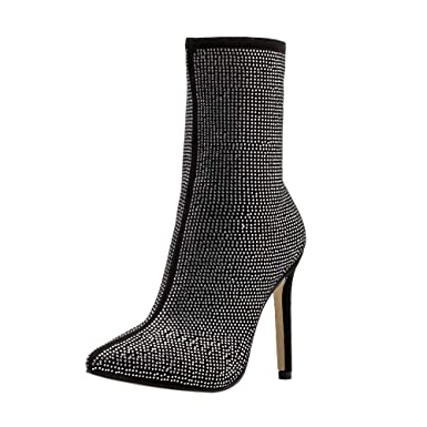 2ed2f4f7eb Amazon.com: Hunzed Women's Pointed Rhinestone high Heel Boots Autumn and  Winter Women's Shoes: Clothing