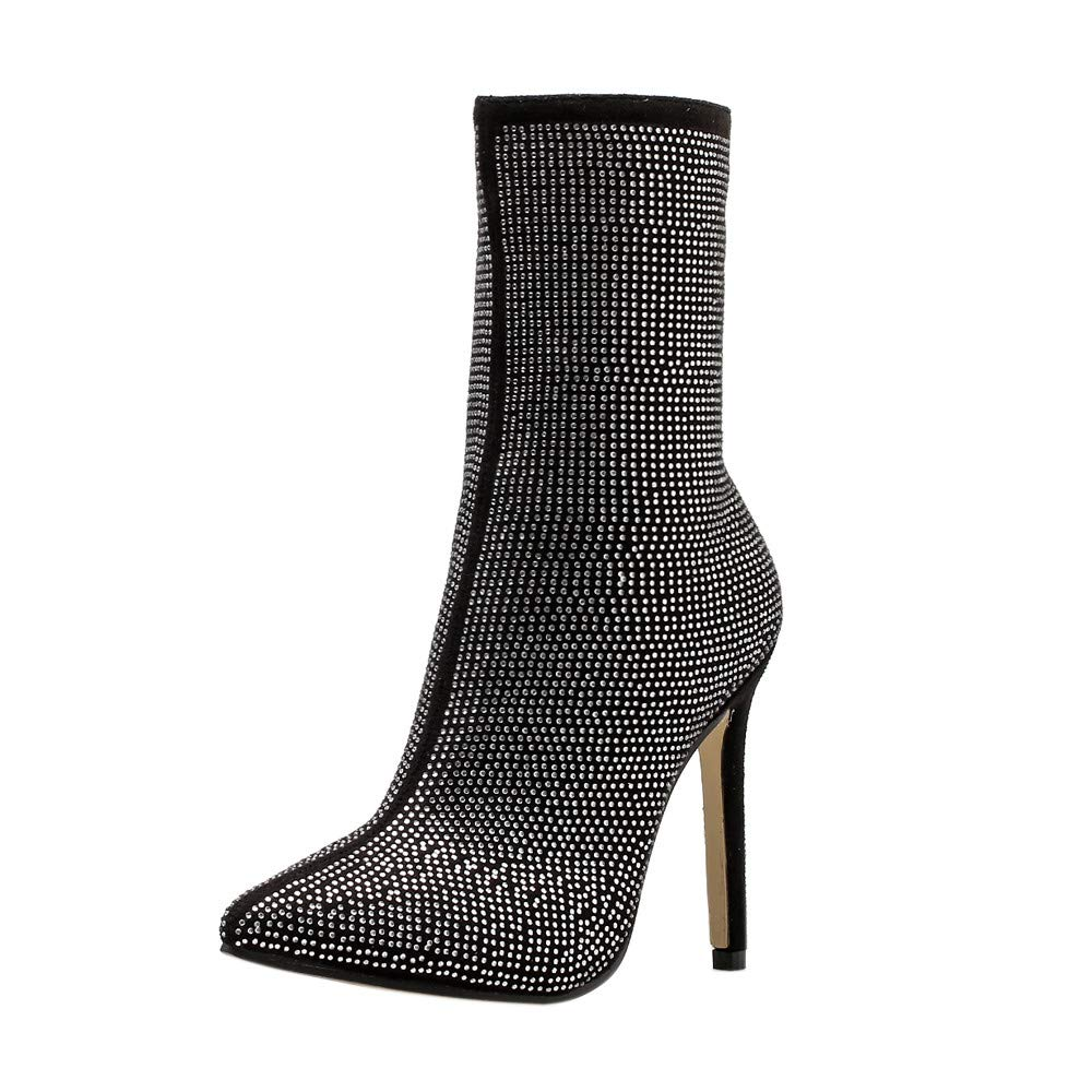 Hunzed Women's Pointed Rhinestone Clearance high Heel Boots Autumn and Winter Women's Shoes (Black, 5.5)