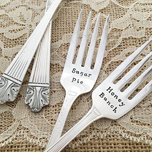 "Sugar Pie / Honey Bunch: hand stamped wedding vintage forks, ""Lady Esther"""
