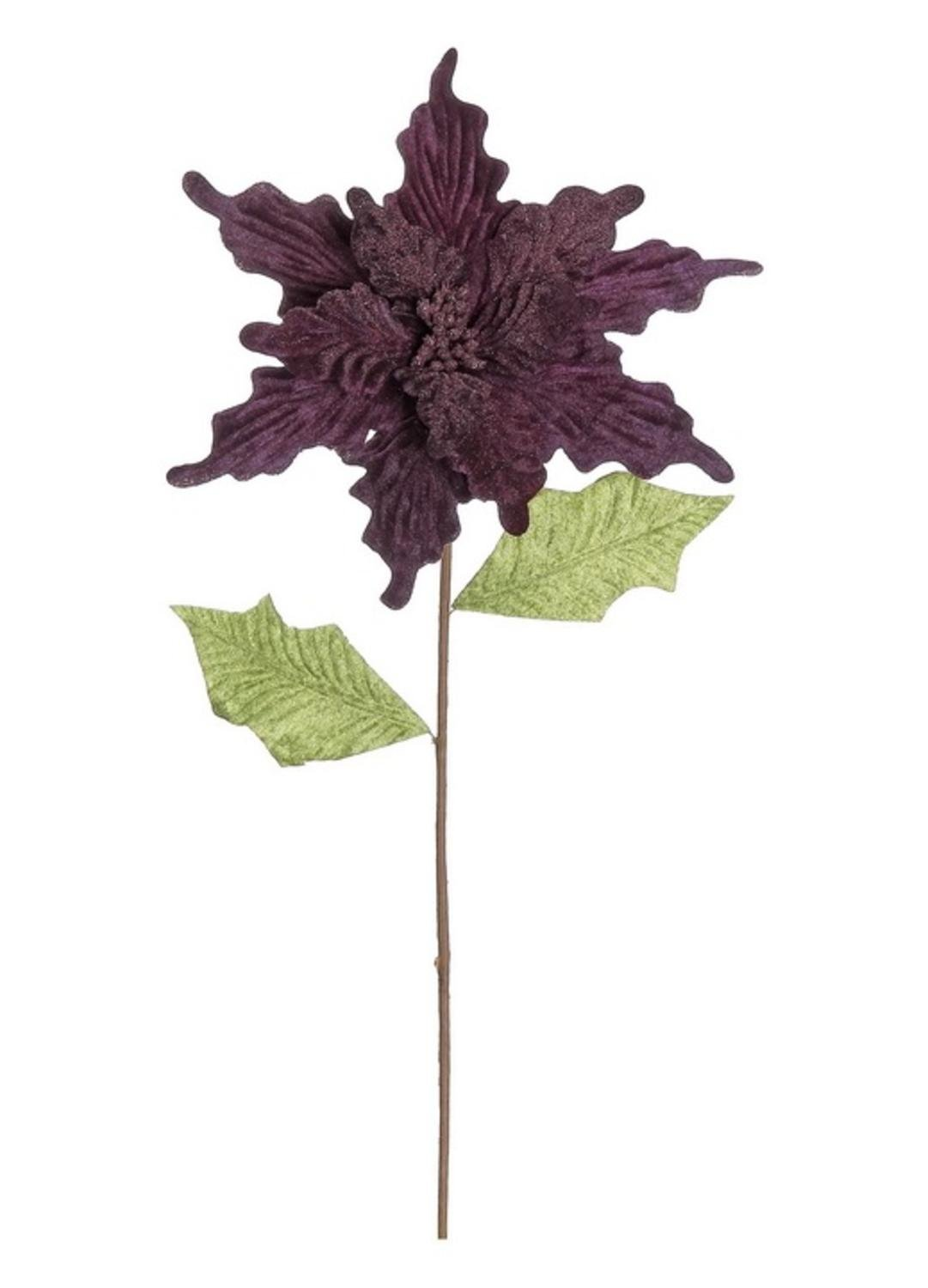 24″ Purple and Green Glittered Artificial Poinsettia Christmas Spray