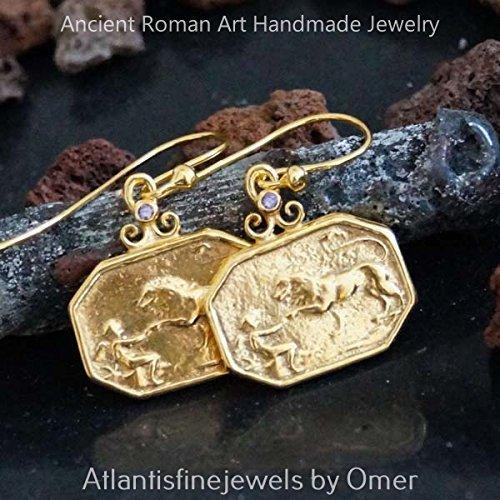 Omer 925 k Sterling Silver Handmade Amethyst Lion Coin Earrings 24k Gold (Sterling Vermeil Earrings)