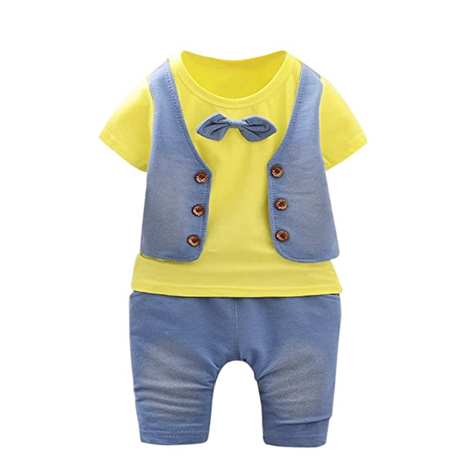 Lonshell Camiseta 2pcs niño chaleco Conjunto de ropa de para niños Camiseta  de manga corta + 638af4370ec