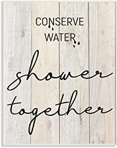 Stupell Industries Shower Together Funny Wood Textured Bathroom Word, Design by Front Porch Pickins Art, 13 x 19, Wall Plaque