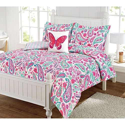 3 Piece Girls Pink Paisley Floral Pattern Comforter Twin Set, Beautiful Whimsical Charming Flowers, Butterflies Print, Boho Chic Bohemian Design, Colorful Stripes Reversible Bedding, (Charming Butterfly)