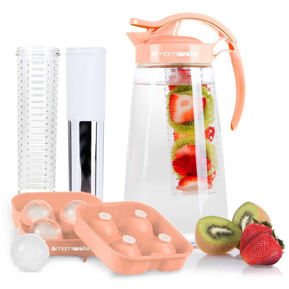 Fruit & Tea Infusion Water Pitcher - Free Ice Ball Maker - Free Infused Water Recipe eBook - Includes Shatterproof Jug, Fruit Infuser and Tea Infuser – Great for weight loss - The PERFECT Set (Peach)