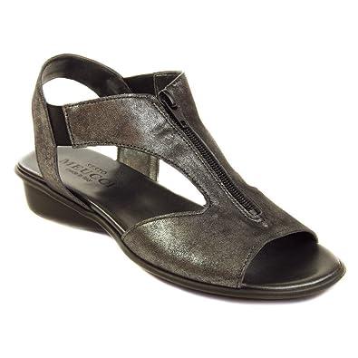 Sesto Meucci Women's Euclid Black Retro/Black Elastic/Black Zip Sandal 5 M (