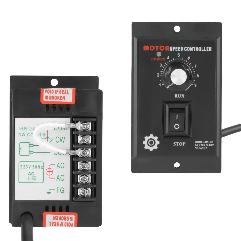 Speed Controller, 400W Motor Speed Controller Governor or AC 220V Motor Speed Controller Forward & Backward Suitable for Printing, Electronics, Instrumentation, Medical Equipment by Aufee (Image #2)
