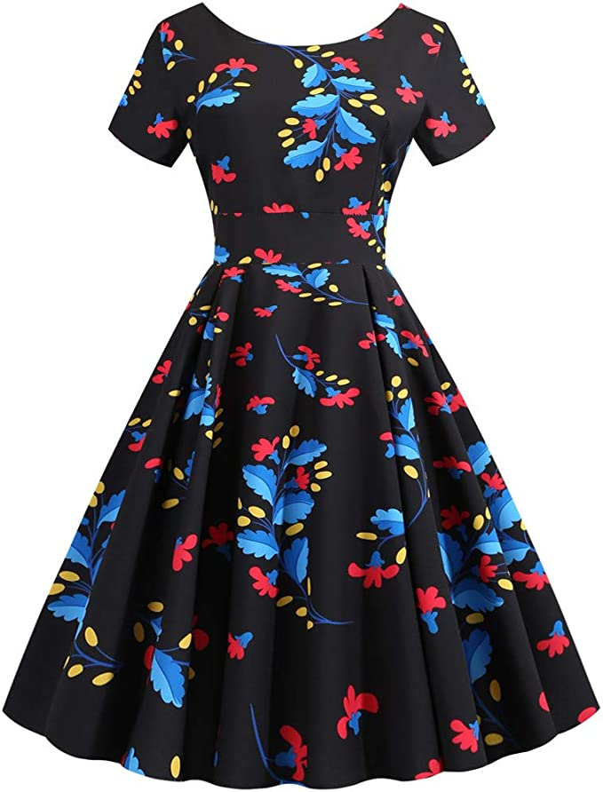 SKKG letnia sukienka z krÓtkimi rękawami sukienka kamizelka sukienka damska casual sukienka bez rękawÓw outdoor damska sukienka koktajlowa w stylu lat 50., sukienka w stylu retro z halką, plisowana, s