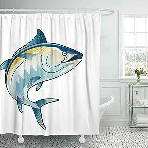 Shorping 66X72 Shower Curtain, Cool Shower Curtain Outdoor Shower Curtain Tuna Jump Tuna Fish Bluefin Drawing Funny Shower Curtain Elegant Shower Curtain Outhouse Shower Curtain