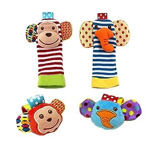 1 X Baby Wrist Rattle & Foot Finder Toys - Set of 4PCS Baby Infant Soft Toy (Monkey & Elephant)
