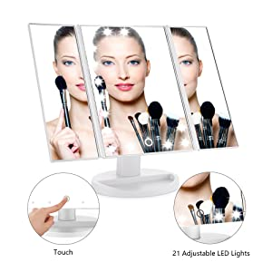 Easehold Led Vanity Make Up Tri-Fold with 21Pcs Lights 180 Degree Free Rotation Table Countertop Cosmetic Bathroom Mirror