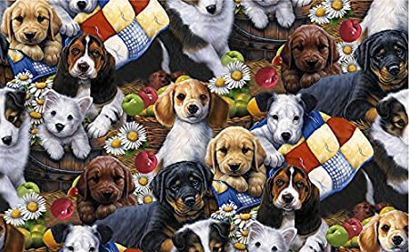 Puppies Cotton Fabric Dogs Cotton Fabric Puppies Cotton Quliting