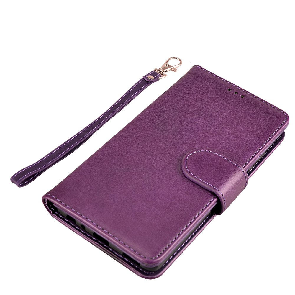 Huawei P9 Case, MagicSky Wallet Case Folio Flip Premium PU Leather Case Cover with Card Holder Slot Pockets, Wrist Strap, Magnetic Closure For Huawei P9 - Purple