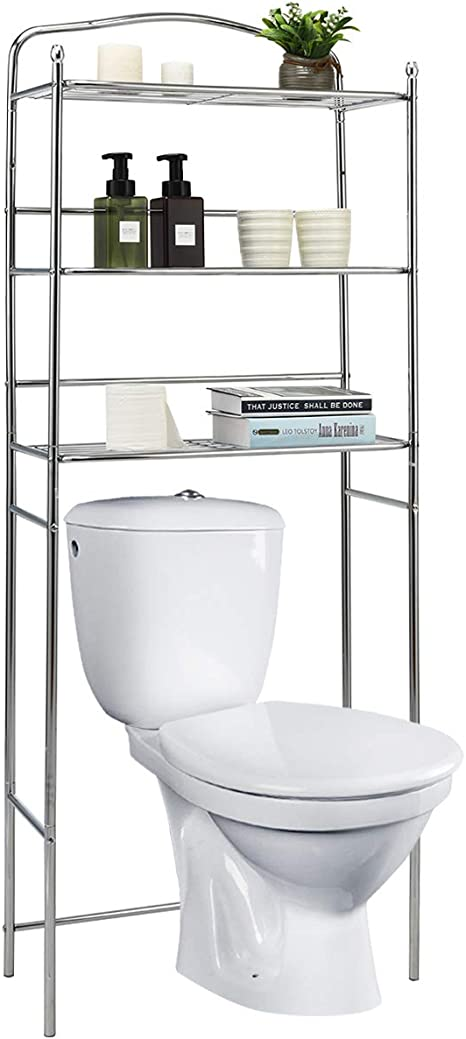 Amazon Com Tangkula Bathroom Space Saver Over The Toilet 3 Tier Bathroom Organizer Metal Frame Shelf For Home Bathroom Laundry Bathroom Storage Cabinet Over Toilet Silver Kitchen Dining
