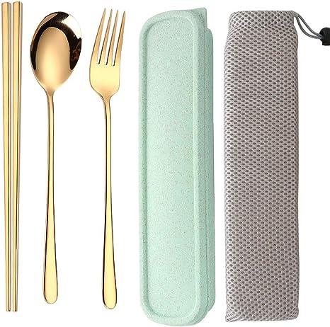 3Pcs Portable Chopsticks Spoon Fork Set Travel Tableware Rectangular Case