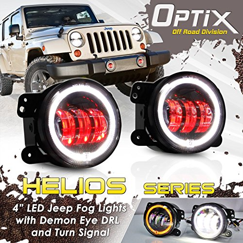 Optix JK Jeep 4 Inch 30W DRL CREE LED Red Demon Projector Lens Fog Lights with Halo Angel Eyes