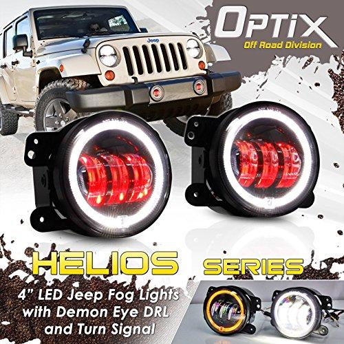 Optix JK Jeep 4 Inch 30W DRL CREE LED Red Demon Projector Lens Fog Lights with Halo Angel Eyes