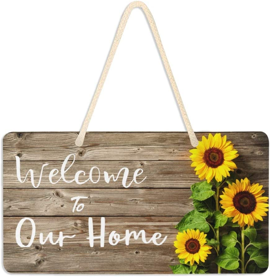DOMIKING Sunflowers On Wooden Welcome Sign Welcome to Our Home Sign Plaque Wall Hanging Plank Home Decor Board Wall Art Sign 6 x 11 Inch